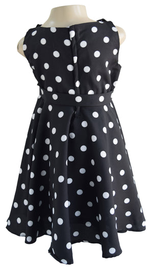 Black Polka Classic Dress for Kids_Faye