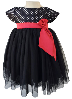 Kids Party Dress_Faye Black Polka Party Dress