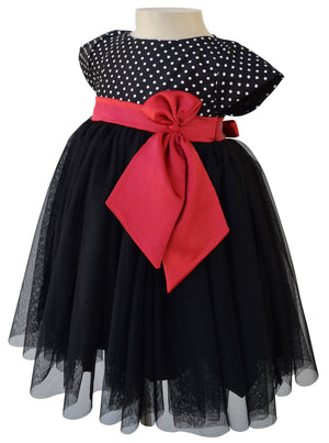 Party Dress for Girls_Faye Black Polka Party Dress