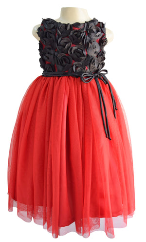 Faye Black Rosette Gown for Kid Girls