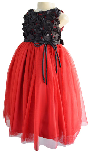Faye Black Rosette Gown for Kids