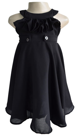 Faye Black Ruffle Dress for Kid Girls