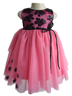 kids party wear in Black & Onion Pink Layered lace & net
