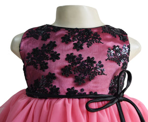 party wear for girls in Black & Onion Pink Layered lace & net