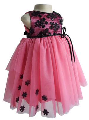 kids dress in Black & Onion Pink Layered lace & net