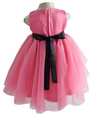 party dress for girls in Black & Onion Pink Layered lace & net