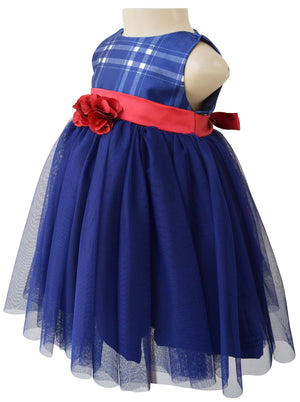 Baby Girl Dress_Faye Blue Checks Party Dress