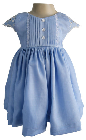 Blue Cotton & Lace Dress for Kids