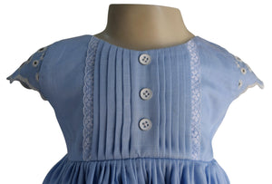 Blue Cotton & Lace Dress