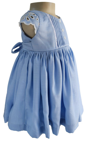 Blue Cotton & Lace Dress for Kid Girls