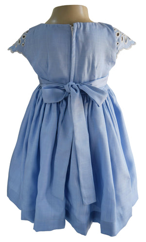 Blue Cotton & Lace Dress for baby girls