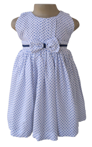 Girls Dress_Faye Blue Polka Dress