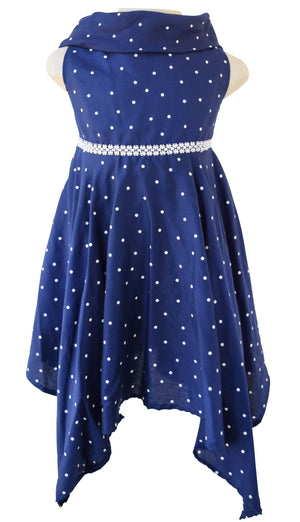 Polka Dress for Kids_Faye Blue Viscose Dress
