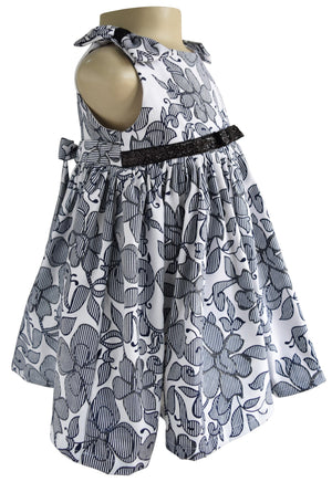 Faye Blue & White Shimmer Dress for Kids