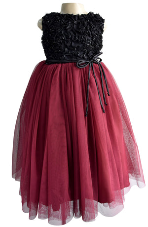Girls Gown_Faye Burgundy Ribbonwork Gown