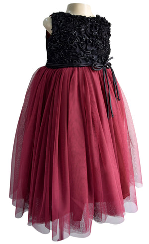 Faye Burgundy Ribbonwork Gown for Girls