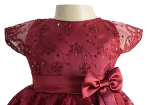 Party Gown for Girls_Faye Burgundy Schiffli Gown