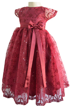 Gown for baby girls_Faye Burgundy Schiffli Gown