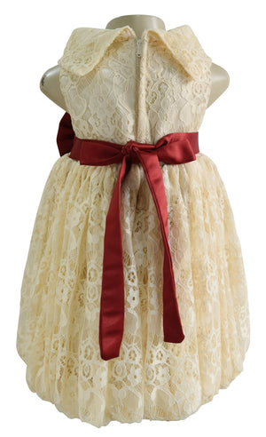 kids wear_Faye Champagne Lace Cowl Dress