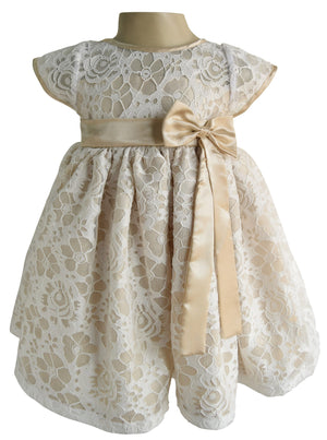 Champagne & White lace Dress for Kids_Faye