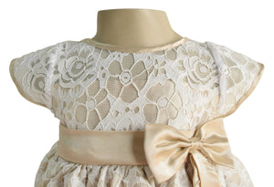 Champagne & White lace Dress for Girls_Faye