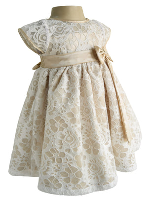 Champagne & White lace Party Dress for Kids_Faye