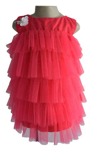 Faye Coral Tiered Dress for Kids