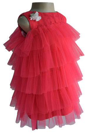 Faye Coral Tiered Dress for Girls
