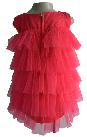 Faye Coral Tiered Dress