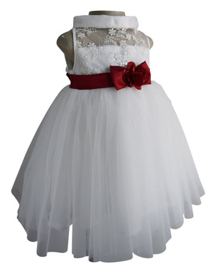 Birthday dress for girls in Cream Embroidered lace and net_Faye