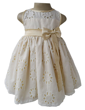 Kids Dress_Faye Cream & Gold Eyelet Dress