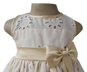 Faye Cream & Gold Eyelet Dress