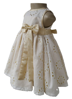Dress for kids_Faye Cream & Gold Eyelet Dress
