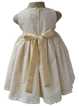 Cream & Gold Eyelet Dress for girls