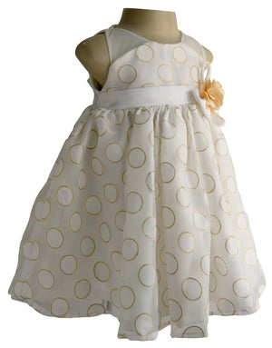 Girls Parry Dress_ Faye Cream & Gold Foil Dress