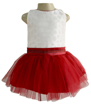 Tutu Dress for Kids in Ivory & Maroon colour_faye