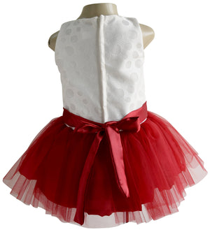 Tutu Party Dress for Kids in Ivory & Maroon colour_faye