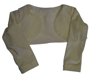 Kids wear_Faye Ivory Velvet Long Sleeve Shrug
