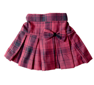 Maroon Checks Skirt for Girls