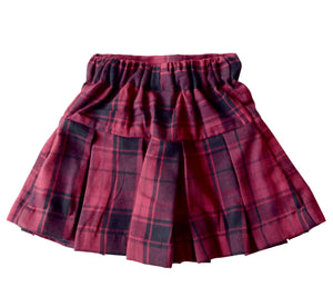 Maroon Checks Skirt for Kids