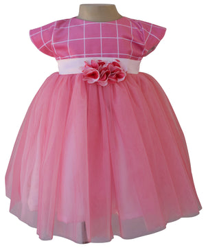Baby Dress_Onion Pink Checks Party Dress