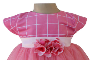 Onion Pink Checks Party Dress_Faye