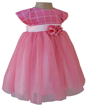 Kids Dress_Onion Pink Checks Party Dress_Faye