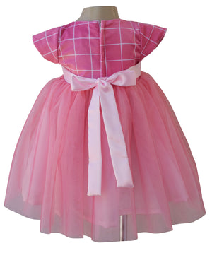 Onion Pink Checks Party Dress