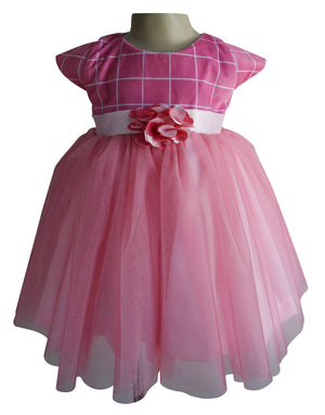 Dress for baby girl in Onion Pink Checks Velvet_faye