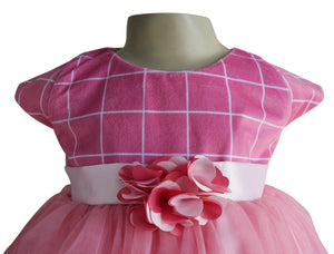 baby frock in Onion Pink Checks Velvet_faye
