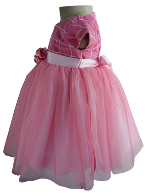 Birthday Dress for baby girl in Onion Pink Checks Velvet_faye