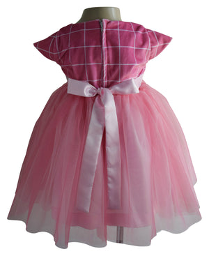 Kids party Dress in Onion Pink Checks Velvet_faye