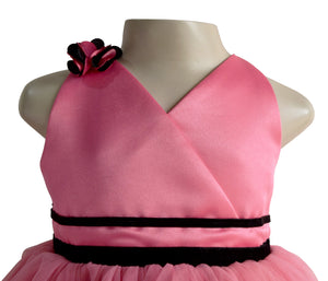 Onion Pink Ribbon Gown for Girls