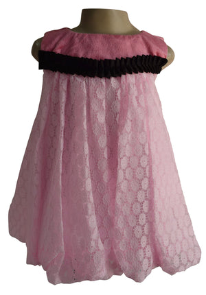 Faye Pink Lace Balloon Dress for kids